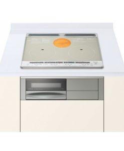 Bếp từ Hitachi HT-F60S hai bếp từ, một bếp hồng ngoại, một lò nướng, màu silver